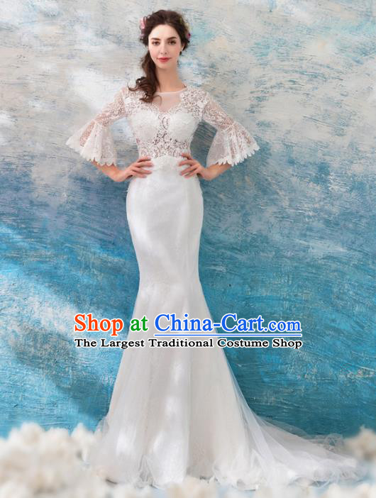 Top Grade Princess White Lace Wedding Dress Handmade Fancy Wedding Gown for Women