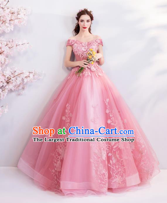Handmade Top Grade Princess Pink Wedding Dress Fancy Wedding Gown for Women
