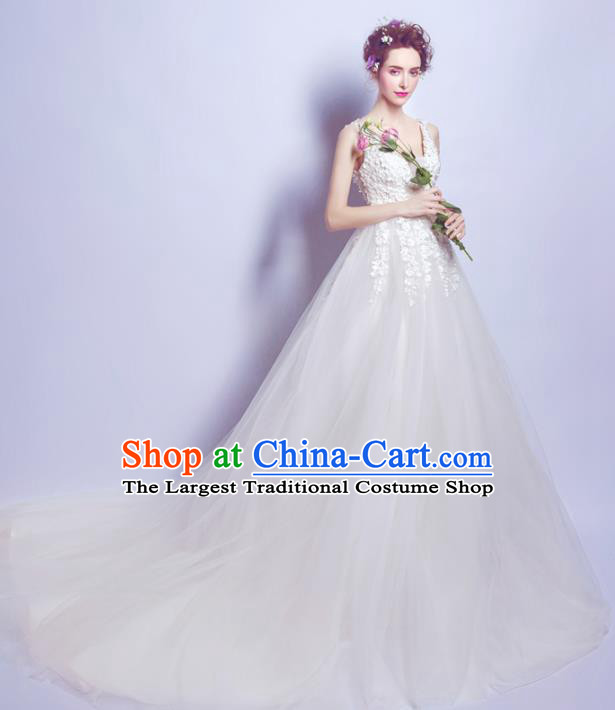 Top Grade Princess Embroidered Wedding Dress Handmade Fancy Wedding Gown for Women