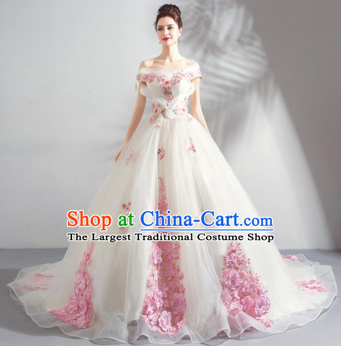 Handmade Top Grade Princess Pink Flowers Wedding Dress Fancy Wedding Gown for Women