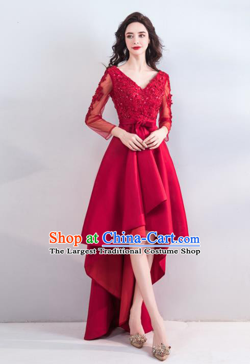 Top Grade Princess Wedding Dress Handmade Fancy Red Beads Wedding Gown for Women