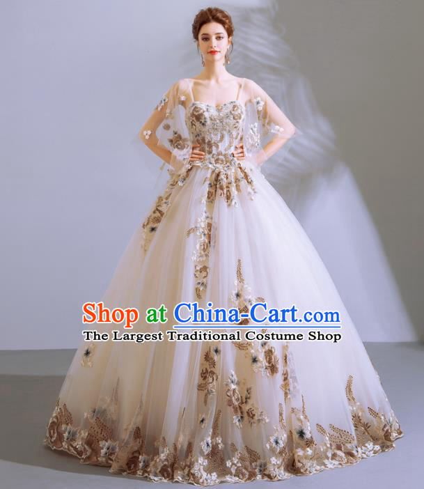 Handmade Princess Embroidered Wedding Dress Fancy Wedding Gown for Women