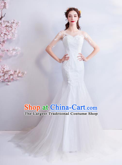 Handmade Princess Embroidered White Veil Wedding Dress Fancy Wedding Gown for Women