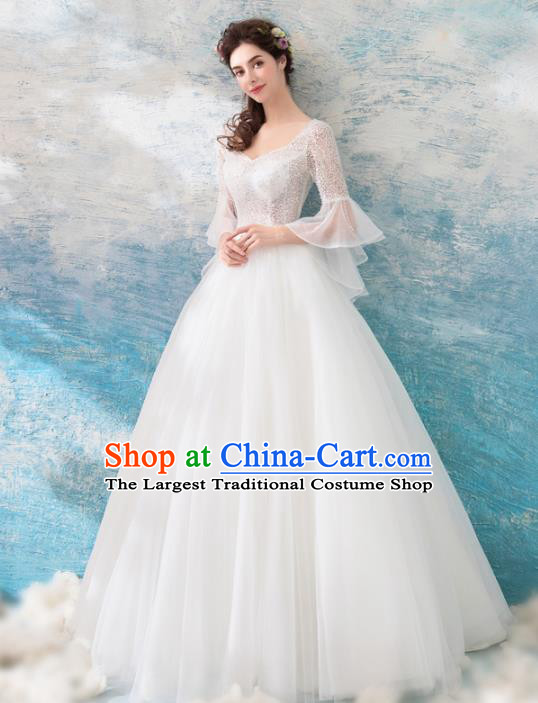 Handmade Princess White Veil Wedding Dress Fancy Embroidered Wedding Gown for Women