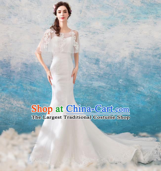 Handmade Princess Trailing Wedding Dress Fancy Embroidered Wedding Gown for Women