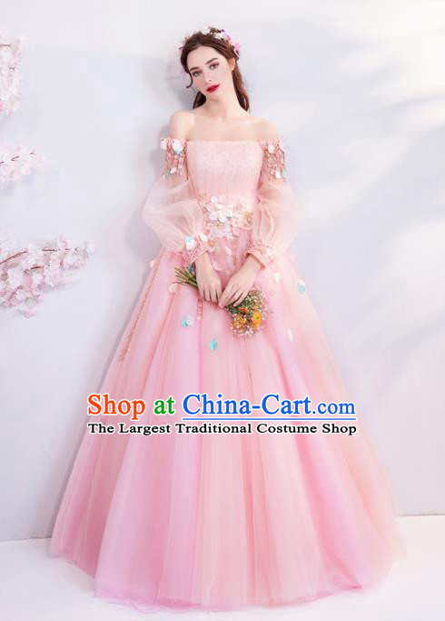 Handmade Princess Pink Veil Wedding Dress Fancy Embroidered Wedding Gown for Women