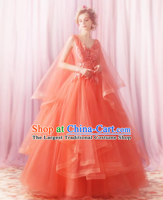 Handmade Princess Orange Wedding Dress Fancy Embroidered Wedding Gown for Women