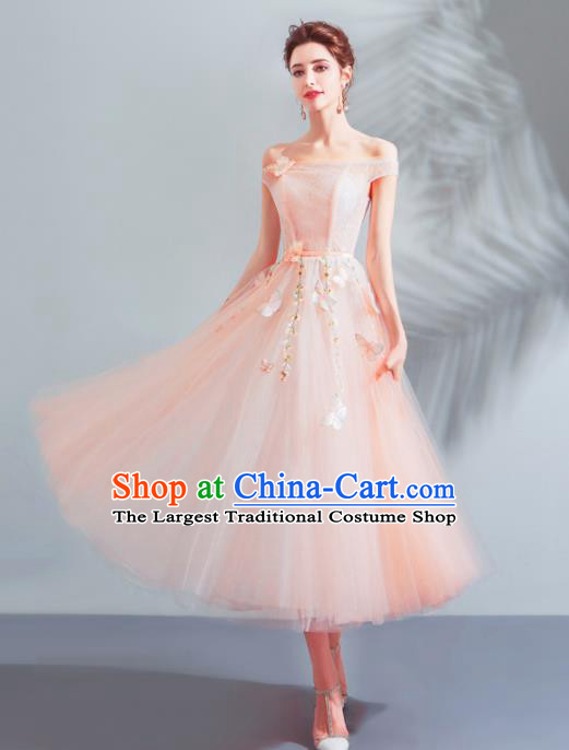 Top Grade Compere Costume Handmade Catwalks Pink Veil Formal Dress for Women