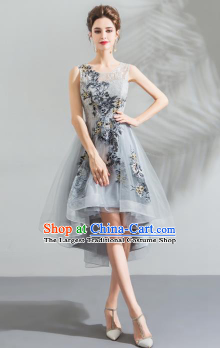 Top Grade Compere Grey Veil Costume Handmade Catwalks Formal Dress for Women