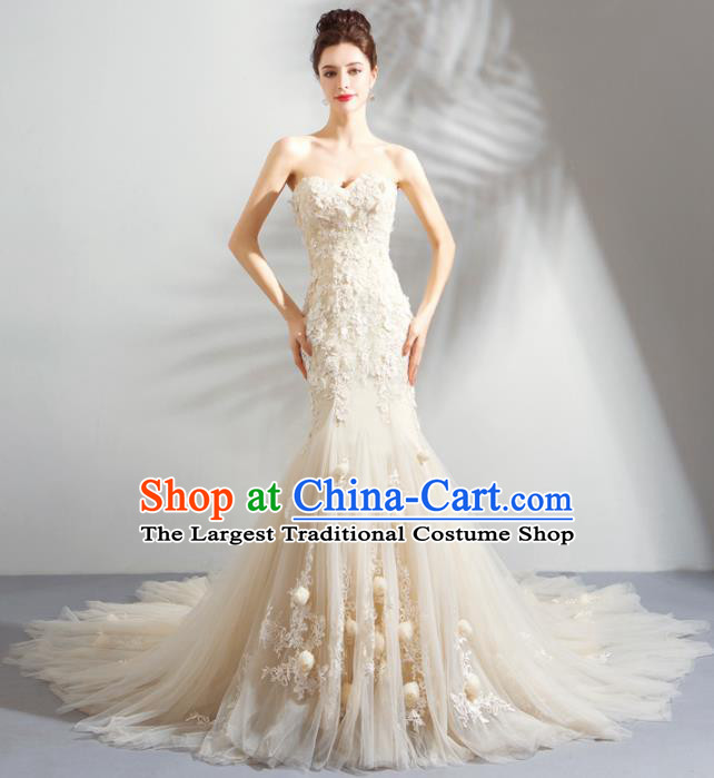 Handmade Princess Wedding Veil Dress Fancy Embroidered Wedding Gown for Women