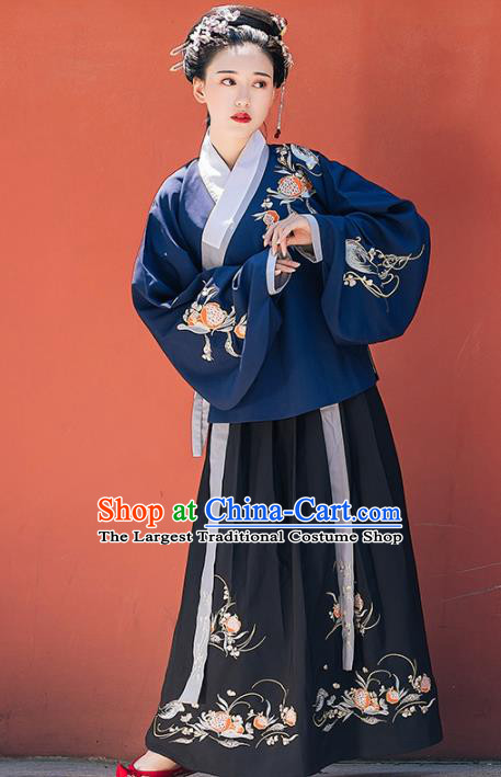 Chinese Ancient Ming Dynasty Nobility Lady Embroidered Costumes Navy Blouse and Black Skirt for Women