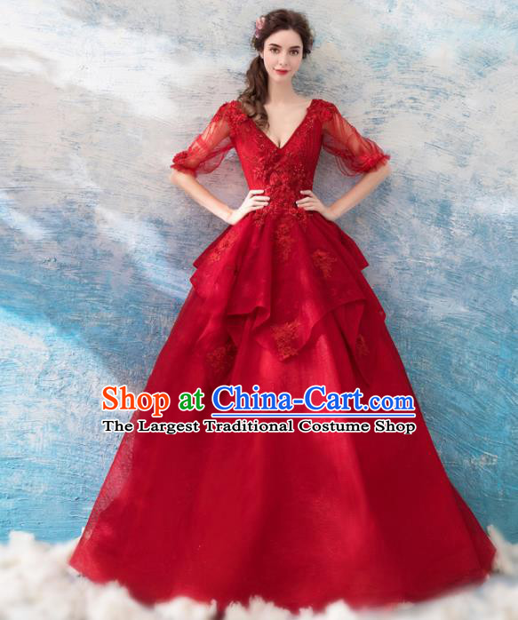 Handmade Top Grade Princess Wine Red Wedding Dress Fancy Wedding Gown for Women