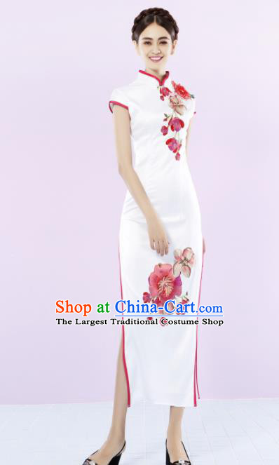 Chinese Traditional Chorus White Cheongsam Wedding Bride Costume Compere Full Dress for Women