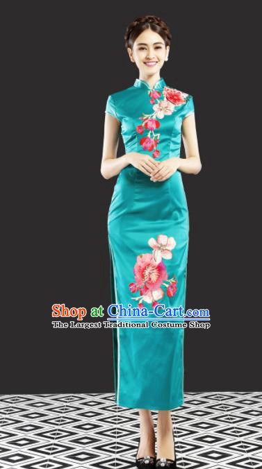 Chinese Traditional Chorus Green Cheongsam Wedding Bride Costume Compere Full Dress for Women