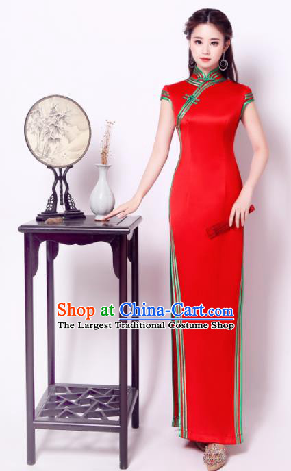 Chinese Traditional Chorus Red Cheongsam Wedding Bride Costume Compere Full Dress for Women