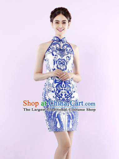 Chinese Traditional Chorus Printing Peony Short Cheongsam Wedding Bride Costume Compere Full Dress for Women