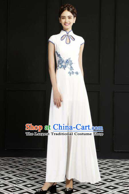Chinese Traditional Chorus Cheongsam Wedding Bride Costume Compere Full Dress for Women