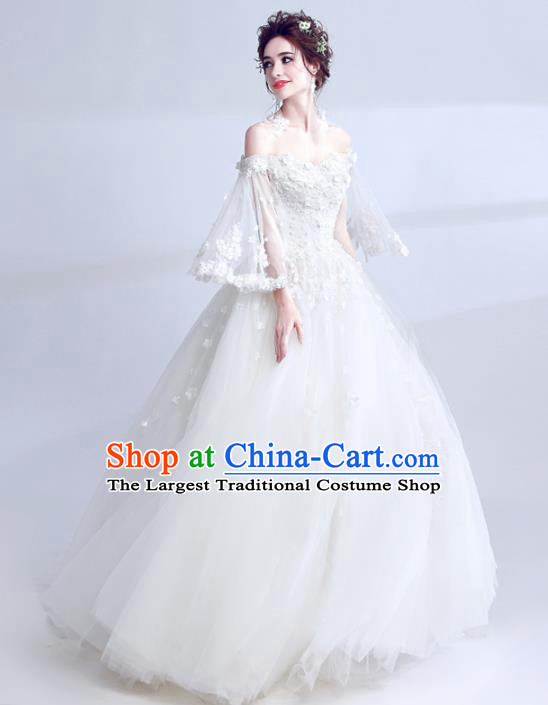 Handmade Princess Wedding Dress Top Grade Fancy Wedding Gown for Women