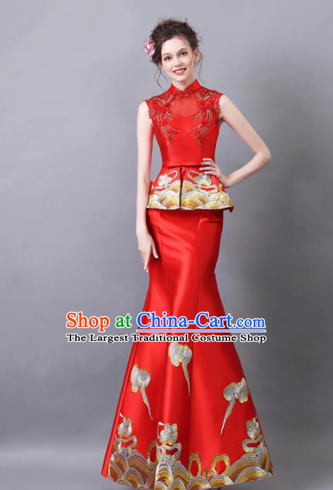 Chinese Traditional Chorus Cheongsam Wedding Bride Compere Red Satin Full Dress for Women