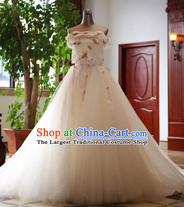 Handmade Princess Lace Flowers Wedding Dress Top Grade Fancy Wedding Gown for Women
