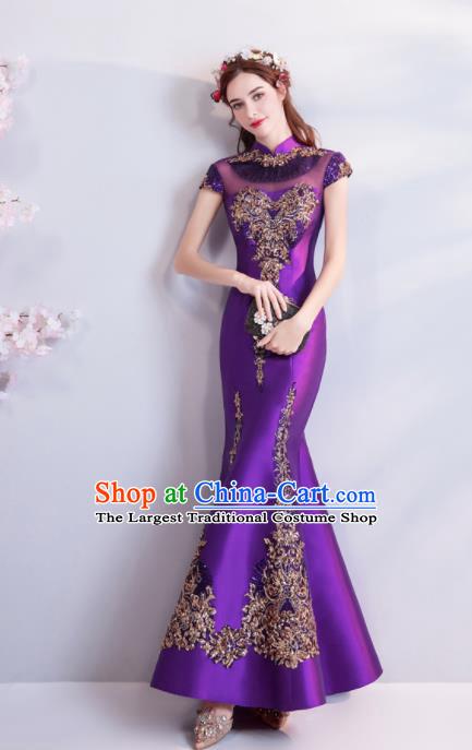 Chinese Traditional Chorus Purple Cheongsam Wedding Bride Compere Red Full Dress for Women