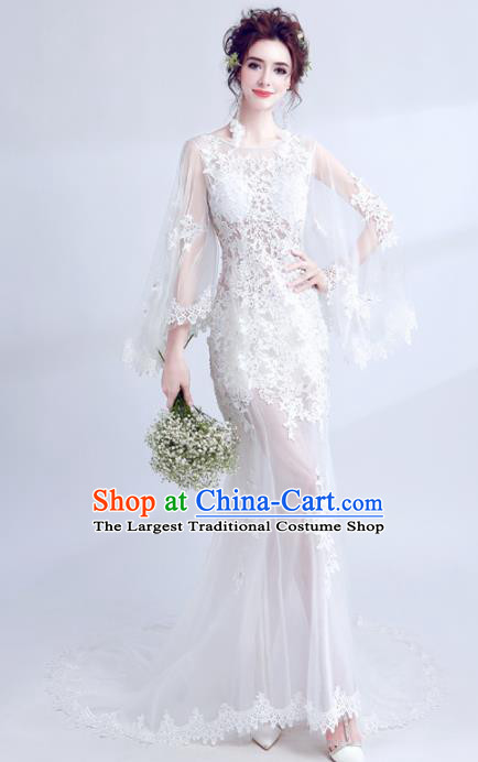 Handmade Princess White Lace Wedding Dress Top Grade Fancy Wedding Gown for Women