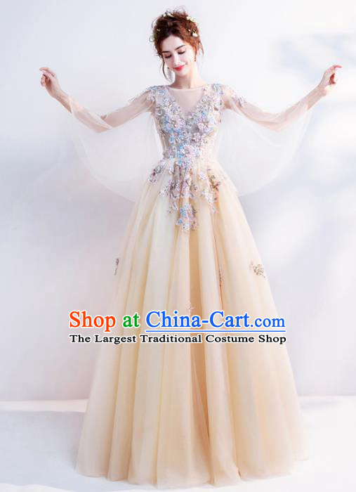 Handmade Bride Costume Princess Champagne Wedding Dress Top Grade Fancy Wedding Gown for Women