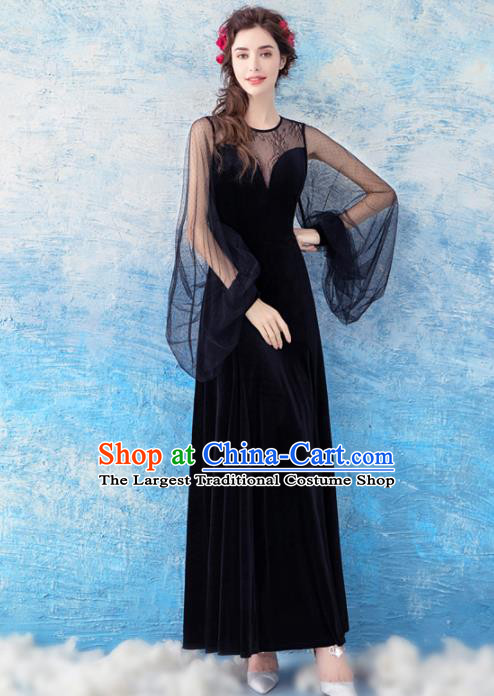 Top Grade Black Evening Dress Compere Costume Handmade Catwalks Angel Full Dress for Women