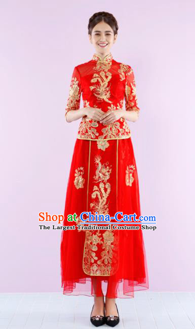 Ancient Chinese Traditional Wedding Costumes Bride Embroidered Red Dress Xiuhe Suits for Women