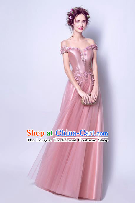 Top Grade Handmade Bridesmaid Formal Dress Compere Costume Catwalks Angel Pink Evening Dress for Women