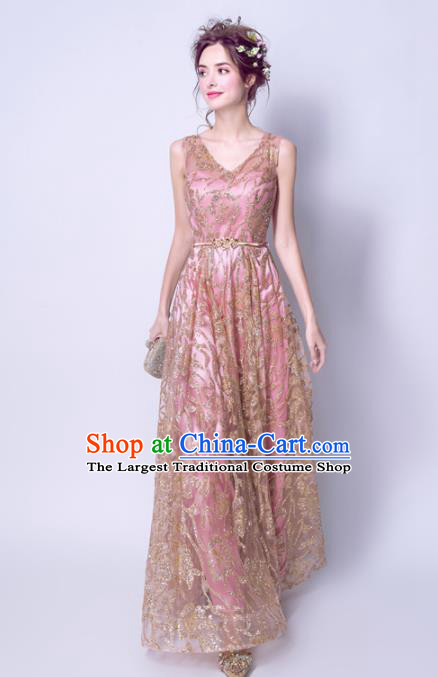Top Grade Handmade Bridesmaid Pink Formal Dress Compere Costume Catwalks Evening Dress for Women