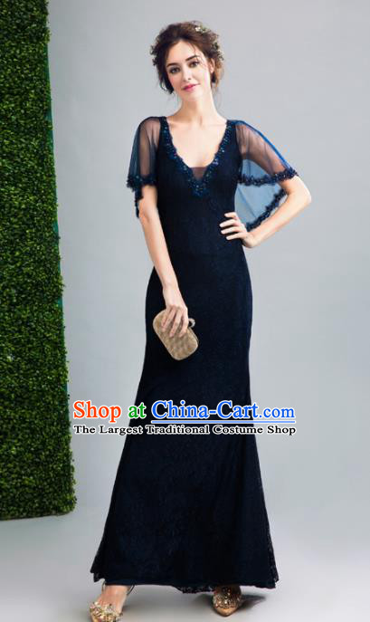 Top Grade Handmade Bridesmaid Blue Formal Dress Compere Costume Catwalks Evening Dress for Women