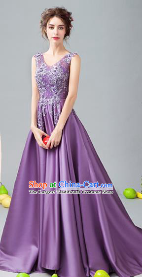 Top Grade Handmade Bridesmaid Purple Satin Formal Dress Compere Costume Catwalks Evening Dress for Women
