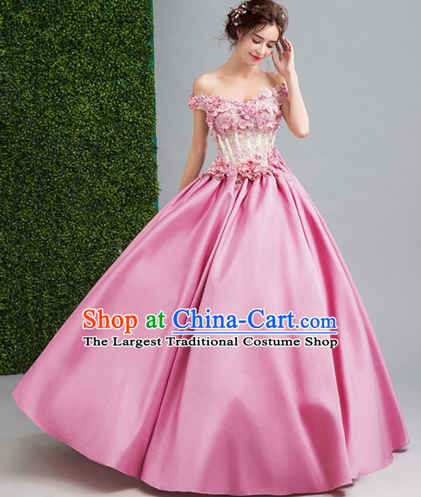 Handmade Bride Pink Silk Wedding Dress Princess Costume Flowers Fairy Fancy Wedding Gown for Women