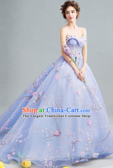 Handmade Bride Lilac Wedding Dress Princess Costume Flowers Fairy Fancy Wedding Gown for Women