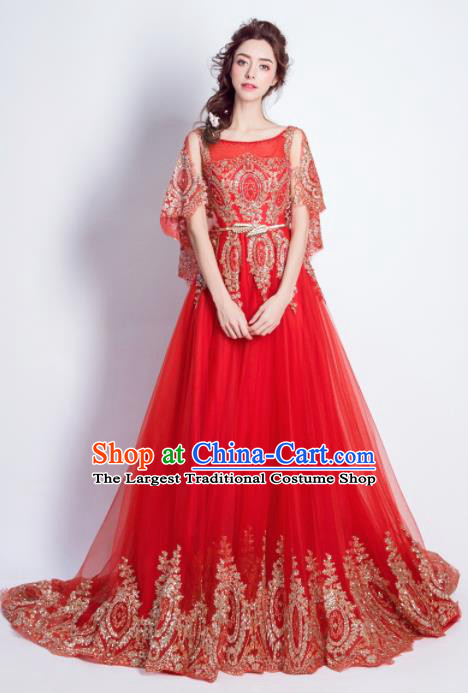 Handmade Bride Red Embroidered Wedding Dress Princess Costume Flowers Fairy Fancy Wedding Gown for Women