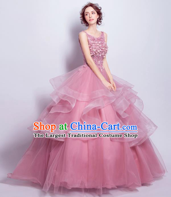Handmade Bride Pink Wedding Dress Princess Costume Flowers Fairy Fancy Wedding Gown for Women
