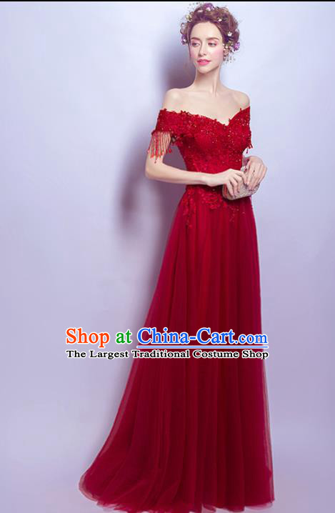Top Grade Red Lace Tassel Formal Dress Compere Costume Catwalks Evening Dress for Women