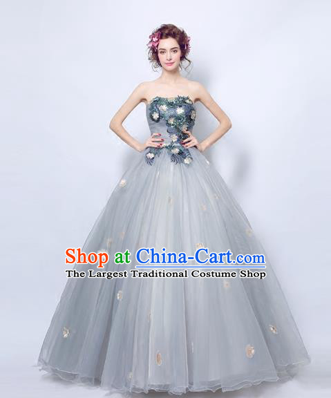 Handmade Bride Grey Veil Wedding Dress Fancy Formal Dress Wedding Gown for Women