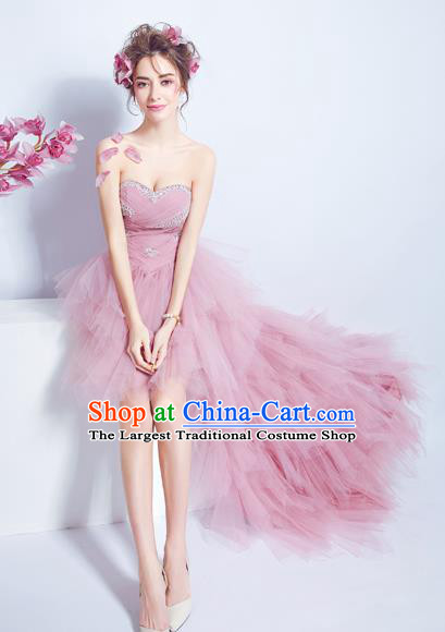 Top Grade Pink Veil Bubble Formal Dress Compere Costume Catwalks Evening Dress for Women