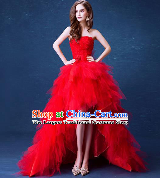 Handmade Red Veil Queen Wedding Dress Fancy Formal Dress Wedding Gown for Women