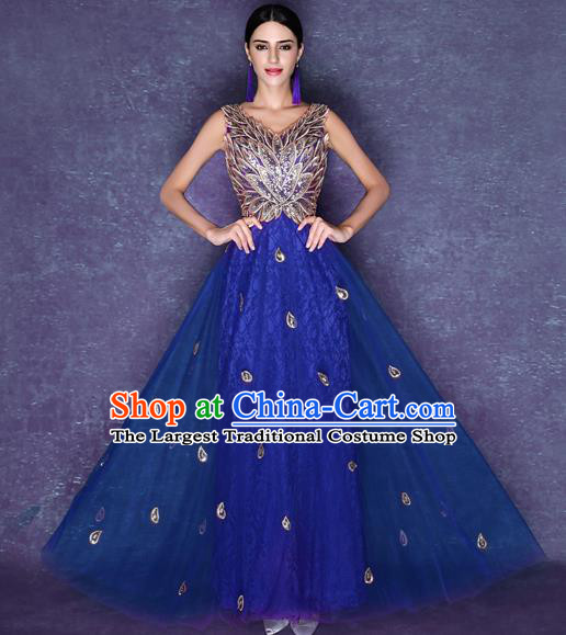 Handmade Crystal Blue Wedding Dress Fancy Formal Dress Wedding Gown for Women