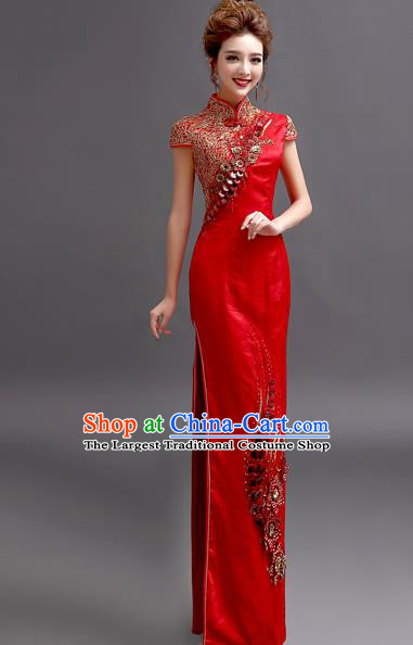 Chinese Traditional Full Dress Wedding Bride Red Cheongsam for Women