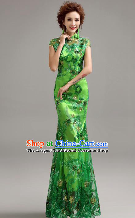 Chinese Traditional Mermaid Full Dress Wedding Bride Green Cheongsam for Women