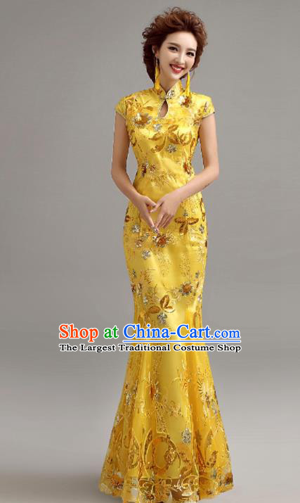 Chinese Traditional Mermaid Full Dress Wedding Bride Yellow Cheongsam for Women