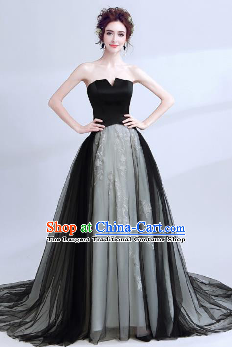 Handmade Black Strapless Evening Dress Compere Costume Catwalks Angel Full Dress for Women