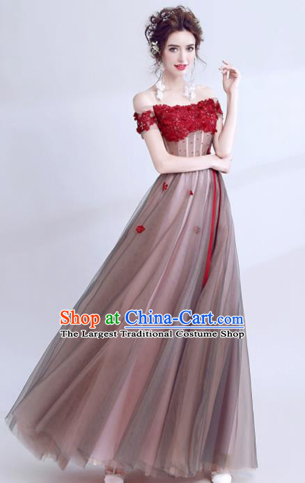 Handmade Strapless Evening Dress Compere Costume Catwalks Angel Full Dress for Women