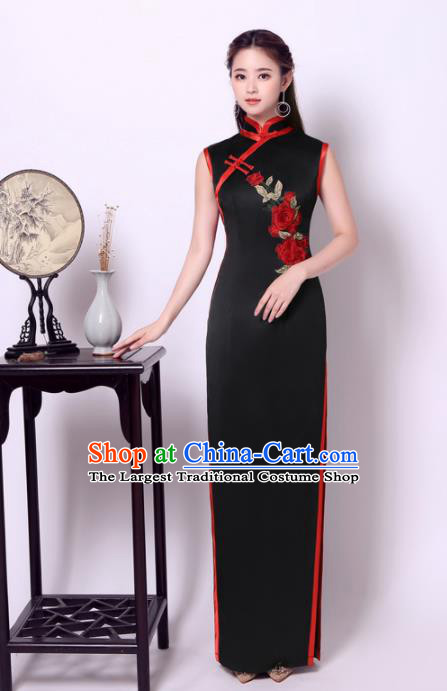 Chinese Traditional Black Cheongsam Wedding Bride Compere Chorus Full Dress for Women