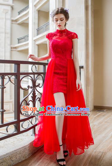 Chinese Traditional Embroidered Red Veil Cheongsam Wedding Bride Compere Chorus Full Dress for Women