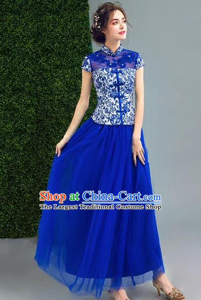 Chinese Traditional Blue Veil Cheongsam Wedding Bride Compere Chorus Full Dress for Women